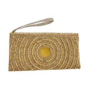 Shiraleah Wooden Beaded Satin Lined Wristlet